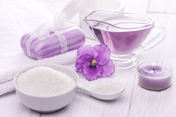 sea salt and essential oils, purple violet. spa