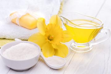 sea salt and essential oils, narcissus. spa