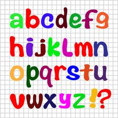 Английский алфавит на белом фоне с сеткой