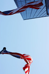 Glory, US banner, flag, sky, skyscraper, blue, wind