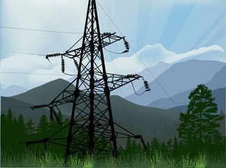 electric power pylon in green mountains
