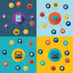 Flat concept, set modern design with shadow education icons