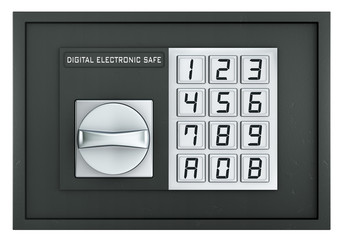 Closed electronic safe isolated on white
