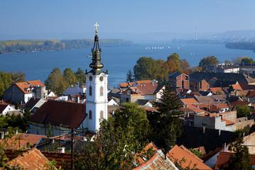 Zemun, view on the St. Nicholas Church, Danube river and Belgrad