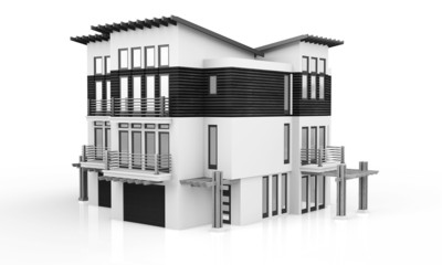 3d monochrome modern house
