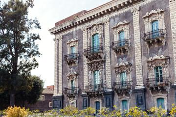 baroque style building in Catania city, Sicily