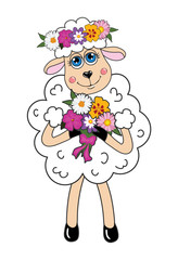 Sheep in a wreath and flowers. Vector character.