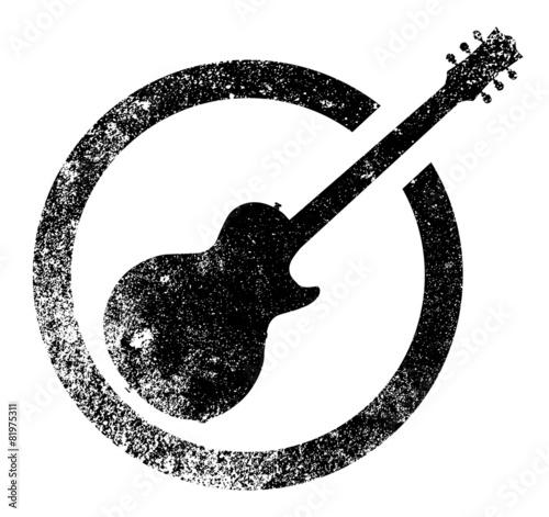 Guitar Black Ink Stamp - 81975311