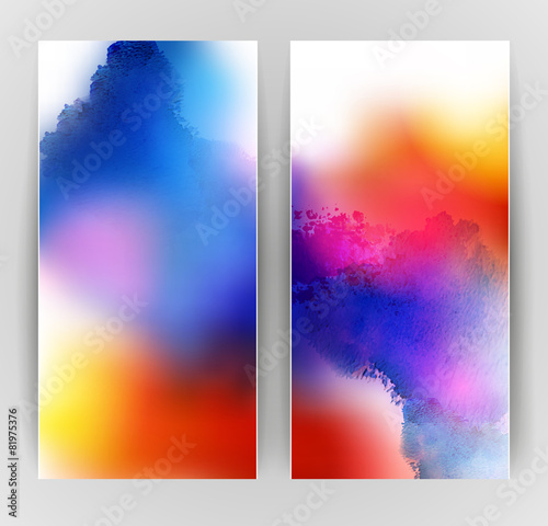 set of two banners, abstract headers with bright blots - 81975376