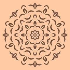 Round brown flower pattern on beige background