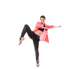 modern style dancer posing on studio white background