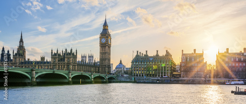 London Panoramic view of Big Ben clock tower in London at sunset