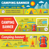 Summer adventure camping - vector banners set in flat style