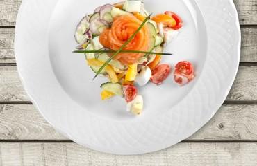 Salmon. Salmon Tartar over White Background. Gourmet Food
