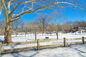 Playgrond in Central Park, New York in the snow