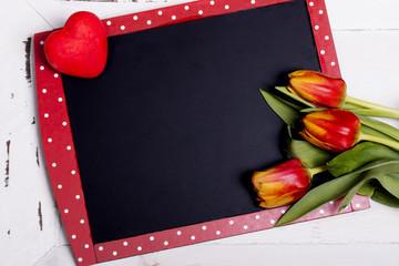 tafel - herz - tulpen