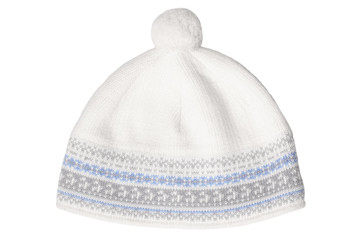 Warm woolen knitted hat with pompon