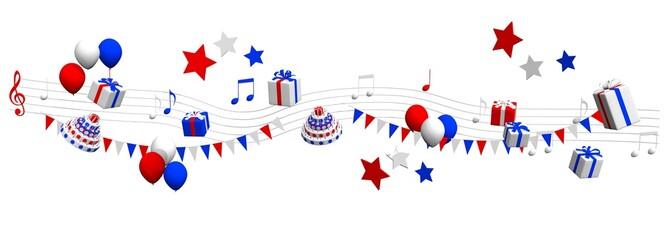 Muziek feest met cadeaus en confetti in America