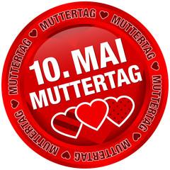"Button ""10. Mai Muttertag"" rot"