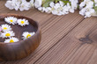 Bowl with daisies on wooden background