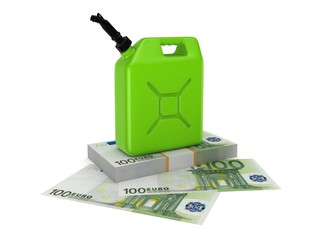 Colorful gasoline jerrycan and pack of euro.