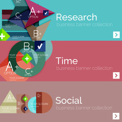 Flat design vector infographic banners with geometric