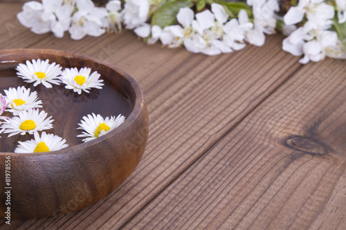 Foto op Canvas Madeliefjes Bowl with daisies on wooden background