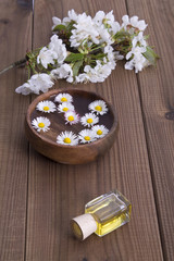 Bowl with daisies and oil on wood background