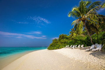 Tropical island with sandy beach, palm trees and green lagoon