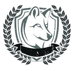 Grunge wolf head emblem