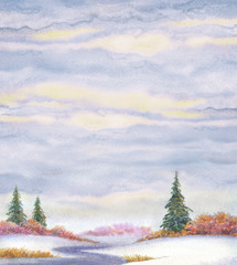 Watercolor landscape background. Spruce in snowy field