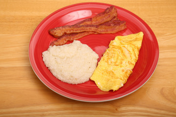 Omelet Grits and Bacon