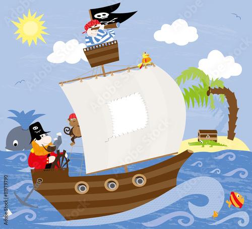 Statek piracki z wielorybem i wyspą ze skarbem w tle