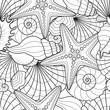 Seamless background with starfish and seashells - 81980197