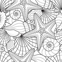 Seamless background with starfish and seashells