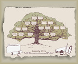 Hand-drawn family tree with decorative elements. Vector - 81980531