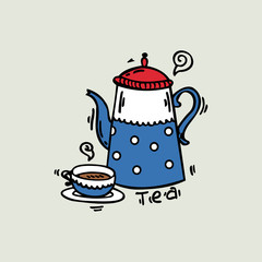cheerful kettle and cup vector illustration
