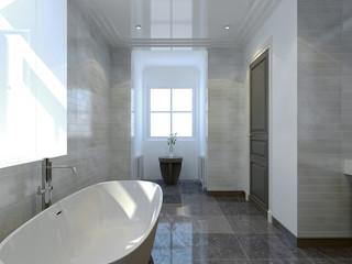 Cozy bathroom art deco style
