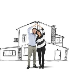 Couple planning a home