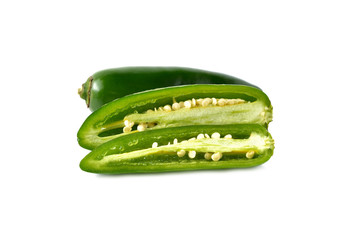Jalapenos Chili Peppers or Mexican chili peppers on white backgr