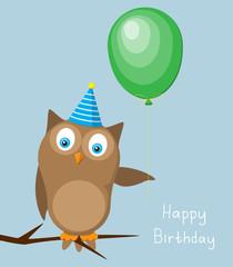 Card on birthday with an owl a balloon