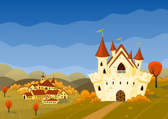 Vector autumn landscape with village and castle.
