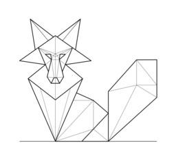 Fox. Low polygon linear vector illustration