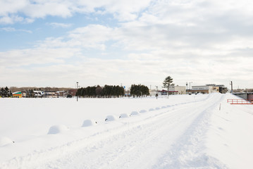 Winter landscape of snow-covered fields.