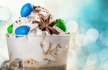 Iced. Frappuccino topping with whip cream and cookie