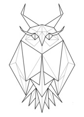 Owl. Low polygon linear vector illustration