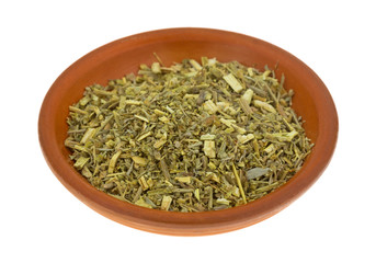 Organic Wormwood In Old Bowl Side View