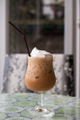 Ice Coffee with whipping cream