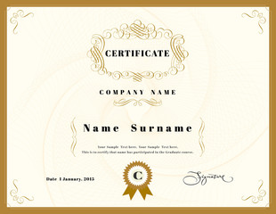 Certificate of appreciation design template element with emblem