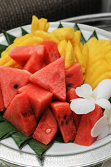 Mixed fruits, watermelon and pineapple sliced